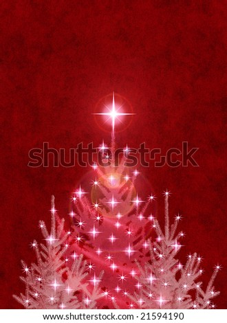 Christmas trees on a textured red background.
