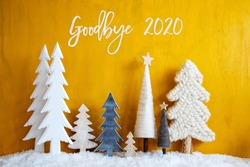 Christmas Trees, Snow, Yellow Wooden Background, Goodbye 2020