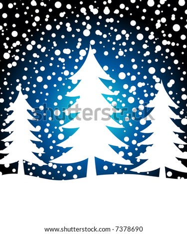 Christmas trees with falling snow flakes