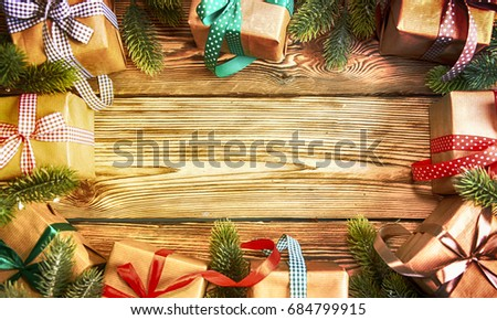 Christmas treewith gifts, rustic background