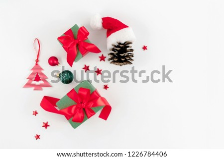 Christmas trendy composition. Xmas red and green decorations on white background. Christmas, New Year, winter concept. Flat lay, top view, copy space #1226784406