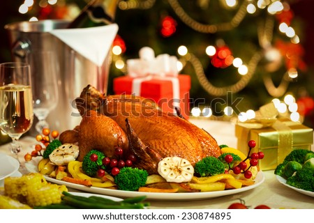 Christmas Turkey dinner served in front of a Christmas tree