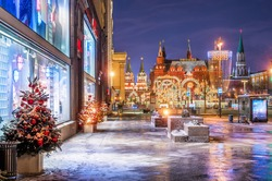 Christmas views of the city and the Manege Square and the Historical Museum from Tverskaya Street