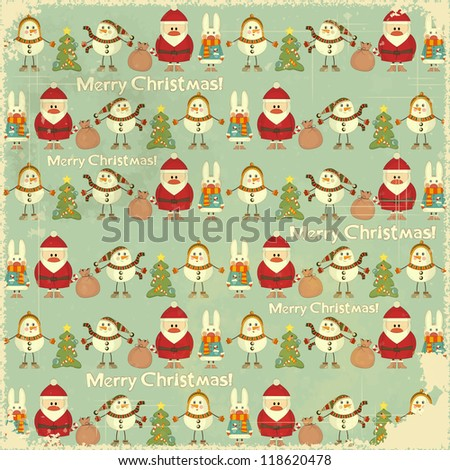 Christmas Vintage background. Signs of Christmas: Santa Claus, snowman, white rabbit and Christmas tree on retro blue background. JPEG version