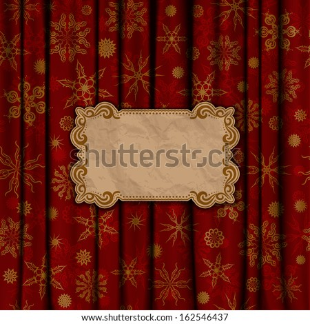 Christmas vintage background with crumpled paper frame. Gold snowflakes on a red background. Illustration.