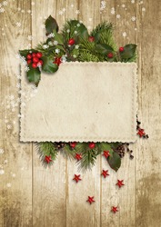 Christmas vintage card with holly,firtree