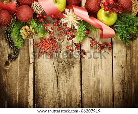 Christmas Vintage decoration border design over old wood background