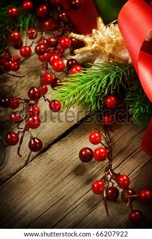 Christmas Vintage decoration border design over wooden background