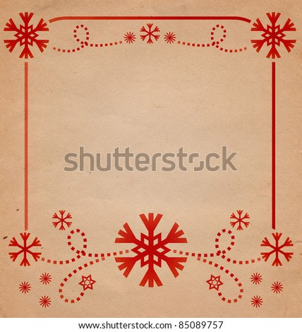 christmas vintage red snowflakes card frame illustration on the old paper