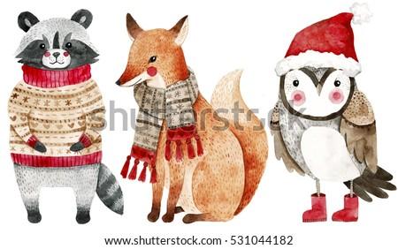 christmas watercolor animals...