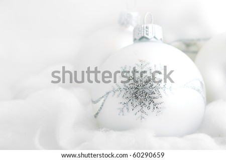 christmas white background, with a christmas ball.