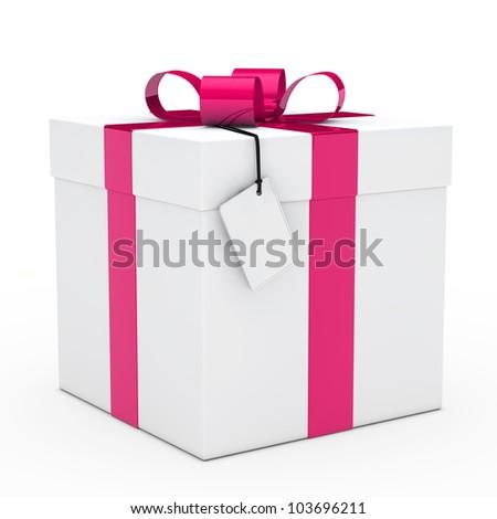 christmas white gift box pink ribbon signboard