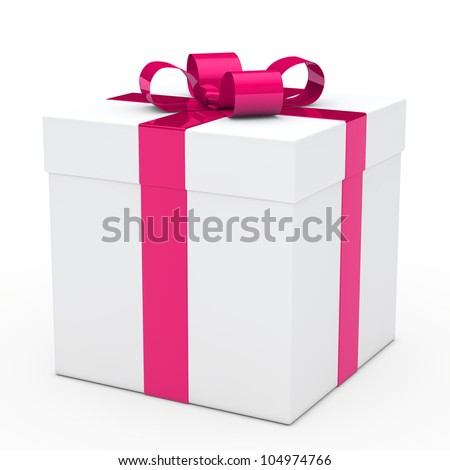 christmas white gift box with pink ribbon