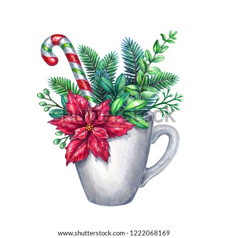 christmas white mug decorated with conifer twigs, red poinsettia flower, candy cane, watercolor illustration, floral decor, conifer twigs, bouquet inside tea cup, clip art isolated on white background