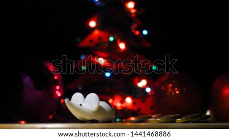 Christmas white rat with money. New Year and Christmas 2020. Year of the rat or mouse