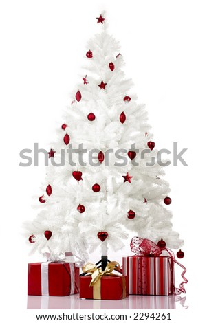 Christmas white tree and gifts over a white background