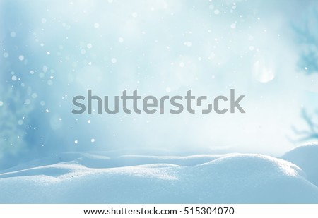 Christmas winter background with snow and blurred bokeh.Merry christmas and happy new year greeting card with copy-space #515304070