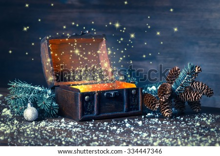 Christmas winter fairy with miracle in opened chest. Background of mystery gift New Year, fir tree and snow. Instagram style