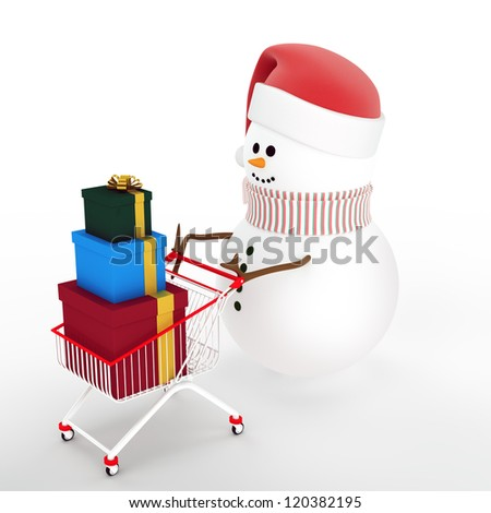Christmas winter sale. Snowman in a hat of Santa Claus driven by a shopping cart with a gift box