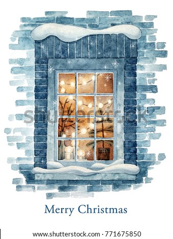 Christmas winter window. Watercolor illustration.