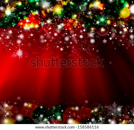 Christmas with defocused lights. Red background