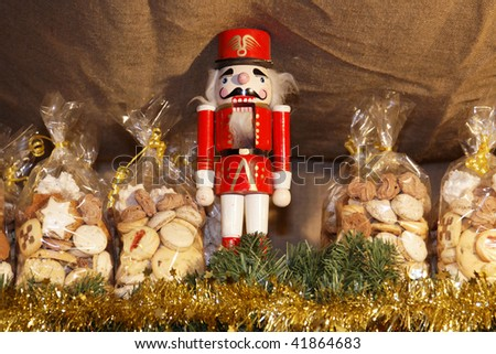 Christmas with nutcracker and biscuits on the market