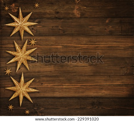 Christmas Wooden Background, Snowflake Stars Decoration, Brown Wood Board, Xmas Decorative Holiday Texture
