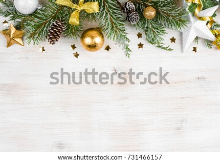 Christmas wooden background with frosted fir tree, view with copy space #731466157