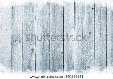 Christmas wooden background with snow #340535861