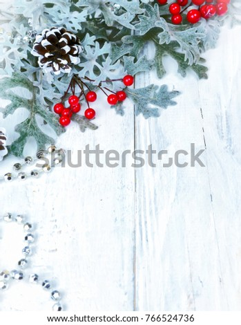 Christmas wooden background with snow branch. Top view with copy space for your text #766524736