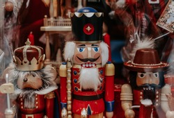 Christmas wooden Nutcracker. Christmas market in the Munich. Germany traditional figurine
