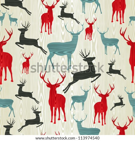 Christmas wooden reindeer seamless pattern background. illustration background.