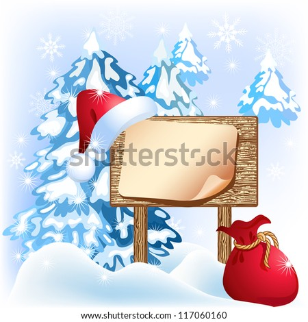 Christmas wooden signboard with santa hat and bag. Raster version of vector.