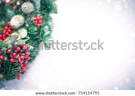 Christmas wreath isolated on a white snow background. Copy space for your design #754114795
