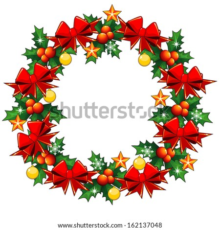 Christmas wreath made of holly berry and decorated with red bows