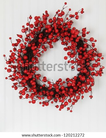 Christmas wreath of holly berries.