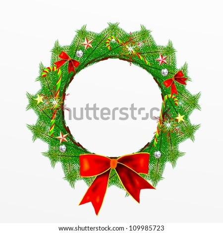 Christmas Wreath of Pine Leaves Decorated with Red Bows, Stars, Candy Canes, Ornaments and Snowflake, Isolated on White Background