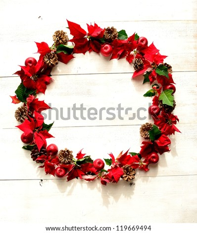 Christmas wreath of red poinsettia