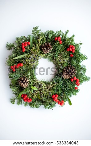 Christmas wreath on white background, Isolated