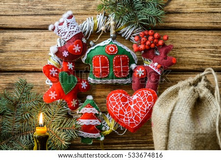 Christmas wreath on wooden background. #533674816