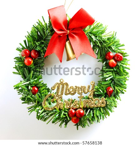 christmas wreath red green gold on white background