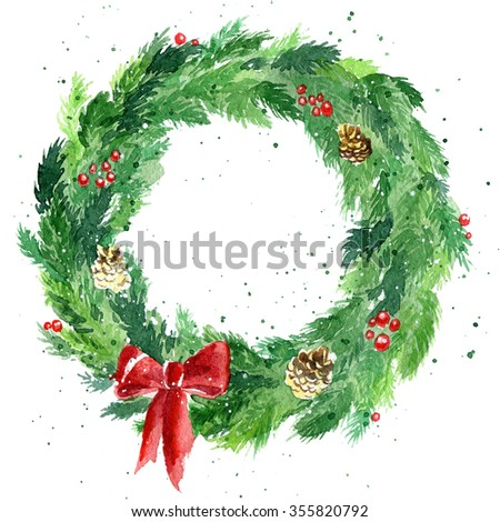 Christmas wreath with a bow, pine cones and rowan - Shutterstock ID 355820792