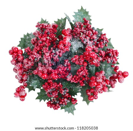 Christmas wreath with berries isolated on white