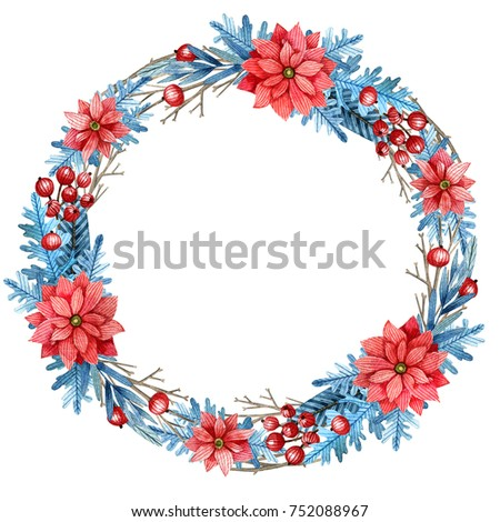 Christmas wreath with flowers, branches, cones and berries