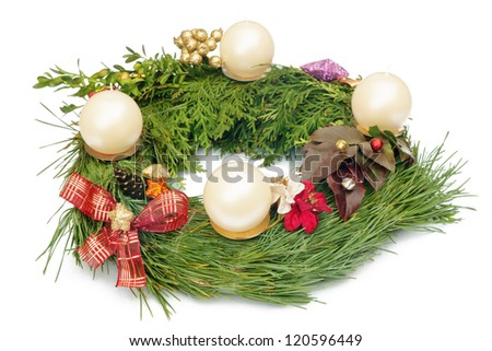 Christmas Wreath with Four White Candles and Decorations