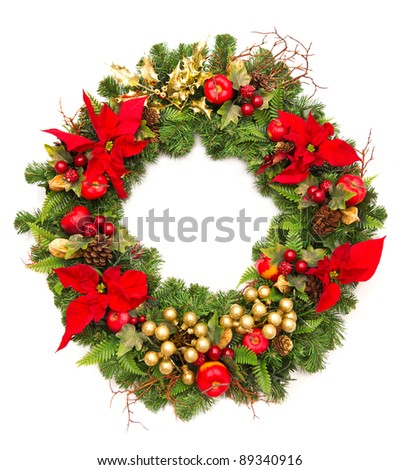 christmas wreath with golden decoration and poinsettia flowers - stock photo