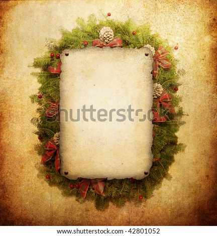 Christmas wreath with paper sheet