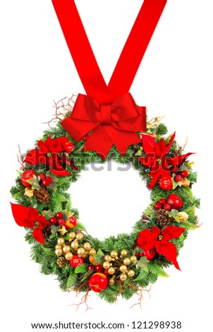 christmas wreath with poinsettia flowers, golden decoration and red ribbon bow isolated on white background