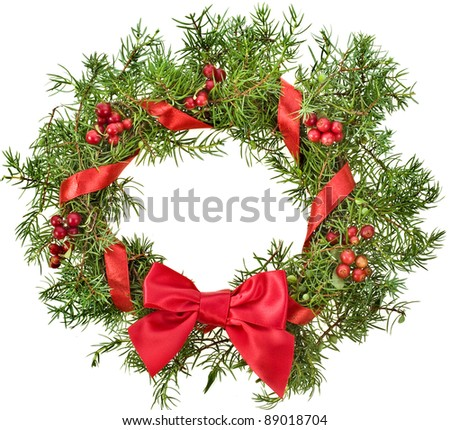 christmas wreath with red ribbon bow surface top view isolated on white