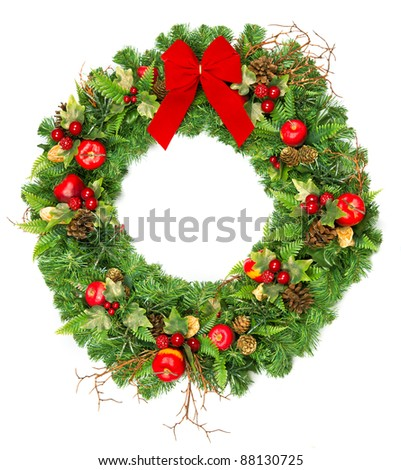 christmas wreath with red ribbon isolated on white